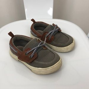 Carters l Gray & Brown Velcro Boat Shoes
